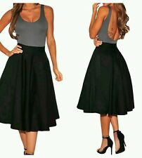 Black Flared A-Line Midi Skirt evening club wear size 10-12