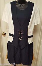 Norton McNaughton Womens Blue White Gold Chains Dress Size 8