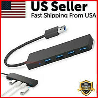 USB 3.0 Hub 4-Port Adapter Charger Data SLIM Super Speed PC Mac Laptop Desktop