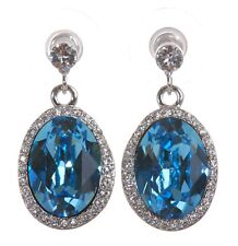 Swarovski Elements Crystal Calista Oval Halo Drop Earrings Rhodium Plated 7268v
