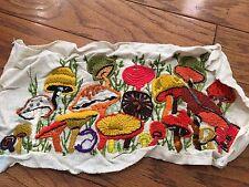 "Vintage Mushroom Embroidered Wall Hanging Retro Hippie GROOVY 70S 19"" x 11"" OOAK"