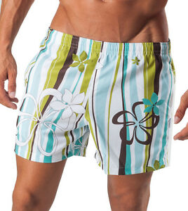Geronimo Mens Swimming Floral Striped Swim Shorts Flowered Active Sports Shorts