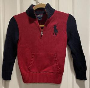 Polo Ralph Lauren Boys Size 7 Sweater Cotton Knit Long Sleeve Navy Blue Red Zip