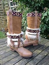 Fat Face Boots, With Cuffs Navajo, Festival, Bohemian, Coachella, Size 6