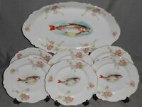 7 pc Set ANTIQUE O & E.G. ROYAL - AUSTRIA Fish Set - PLATTER and SIX PLATES