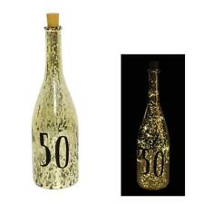 Gold Crackle Glaze Battery Light Up Bottle with Number - 50th Birthday Gift