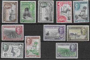 Nyasaland 1945 KGVI SG144/154 pictorials part set to 2/6 | Hinged mint