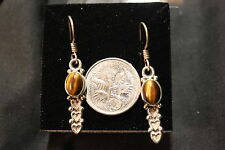 NEW HAND MADE STERLING SILVER NATURAL TIGERS EYE EARRINGS (3.63gms) # 101588