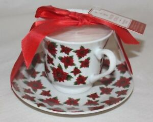 BfH Winter Floral Fragranced Candle in Cup & Saucer Small Red Poinsettias