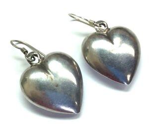 Vintage Oxidized Sterling Silver 925 3D Puffy Love Heart Drop Hook Earrings