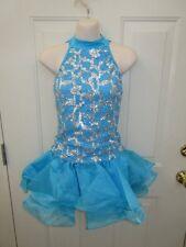 Turquoise Blue Silver Sequin Dress Dance Costume Medium Adult MA