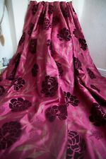 RED WINE GOLD FLORAL EYELET CURTAINS,66WX90D,FAUX SILK,FAUX VELVET,SHEEN,LONG