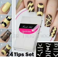 24 Sheets/Set French Manicure DIY Nail Art Tips Guides Stickers Stencil Strip