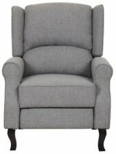 Gray Modern Wingback Linen Fabric Recliner Chair Grey Accent Chairs Recliners