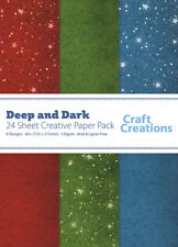 Craft Creations A5+ Scrapbook Paper Deep And Dark Red Green Blue Mixed 120gsm