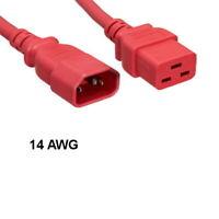 Kentek Red 8 Ft Power Extension Cable C14/C19 14AWG 15A SJT for Server/Data Rack