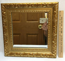 "Framed Mirror Gold Gilt Style Square Carnival Ornate 14"" Plastic Wall Hanging"
