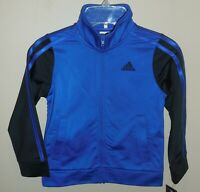 Adidas Boys Size 4 Colorblock Full-Zip Tricot Jacket Blue Black AP5425 4T New