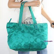 NWT Coach Signature Nylon Packable Weekender Tote Bag F77321 Bright Jade Green