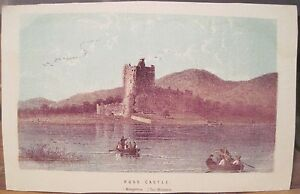Antique Print ROSS CASTLE Lower Lake Leane Killarney Ireland Engraving 3.5 x 5.5