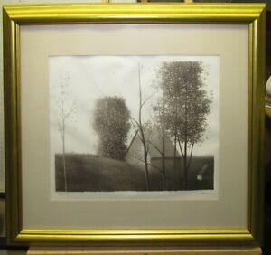 Robert Kipniss Signed Lithograph Landscape with Trees and Barn Listed