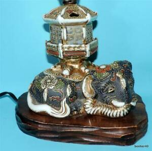 NICE JAPANESE PORCELAIN EARTHENWARE SATSUMA MEIJI LAMP FOOT BASE ELEPHANT PAGODA