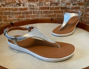FitFlop Silver Lainey Slingback Toe Post Sandal New Thong
