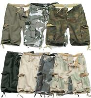 Surplus Vintage 100% washed Cotton Military Style Cargo Combat Shorts 7 Colours