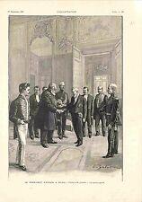 Président Paul Kruger à Paris Visite à Emile Loubet à l'Elysée GRAVURE 1900