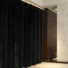 A Pair Vintage Style Velvet Curtains, 2x140cmx213cm Drop,Black Colour