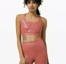 NEW Lululemon Energy Shine Sport Bra Sz 8 Medium Support B-D Cup Print Pink Foil