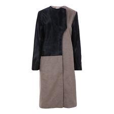 Moka Cashmere Donna London Pelle di Vitello Colorblock Cappotto UK 10 US 6