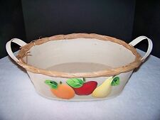 Large Metal Decorative Oval Basket with Handles and Fruit Pictured on Side