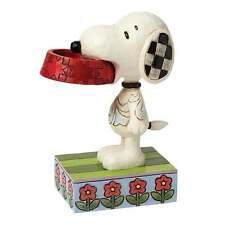 Jim Shore Peanuts More Food Please Snoopy With Dog Dish Figurine New 4049411