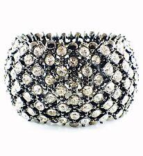 USA Quality Bracelet Rhinestone Crystal Adjustable Fashion Black Clear Wedding Q