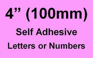 """4"""" (100mm) Self Adhesive Numbers / Letters (you choose upto 8 off)"""