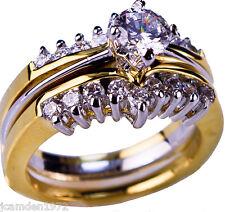 Classic 2 ring cz Wedding Set 18K two tone gold overlay size 8
