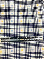 """Vintage Fabric Black Gingham With Yellow and Blue Embro Floral Flowers 74x60"""""""