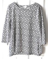 NWT Women's Charter Club Top 3/4 Sleeves Navy Blue and White Size L