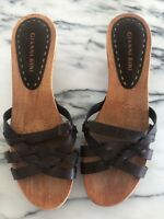 Gianni Bini Riley Shoes Heels Leather Wood Sole Strappy Braid Kitten Sandals 7.5