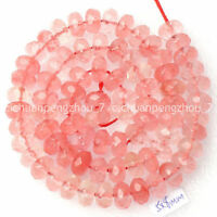 Faceted 5x8mm Pink Watermelon Tourmaline Gemstone Rondelle Loose Beads 15 inches