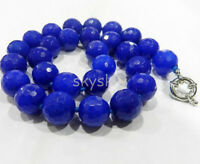 """fashion 10mm Blue Sapphire Faceted Gems Round Beads Necklace 18"""""""