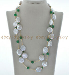 """40"""" 13-14mm White Coin Pearl & 4/8mm Green Jade 14K Gold Plated Necklace"""