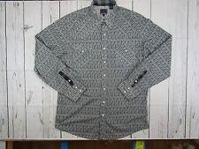Roper Mens XL Long Sleeve Pearl Snap Shirt  Western Gray  Extra Long