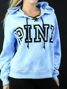 Victoria's Secret PINK Hoodie Lace Up Fleece Sweatshirt Tie Dye NWT
