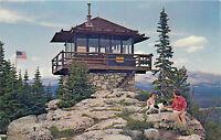 Chrome Postcard WY AH C303 High Park Lookout Bighorn Mts Powder River People Dog