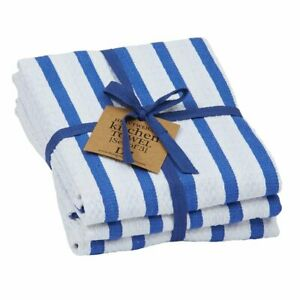Set of 3 Design Imports Blue and White Stripes Heavyweight Cotton Dish Towels