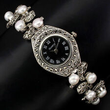 Sterling Silver 925 Genuine Natural Button Pearl & Marcasite Watch 71/2 Inch