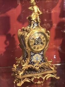 Email Pendule Frankreich Napoleon III Bronze Uhr Clock 1870 Signiert antik rar