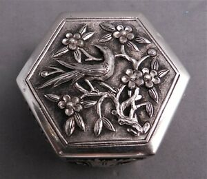 ANTIQUE CHINESE SILVER HEXAGONAL SNUFF BOX ,PILL CASE,SGND,C1900
